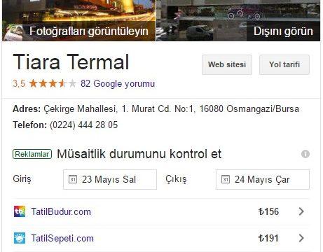 Tiara Termal Hotel Google Rehber Kaydı